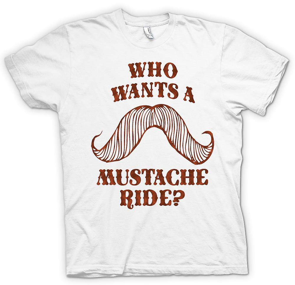 Womens T-shirt - Who Wants A Moustache Ride - Quote