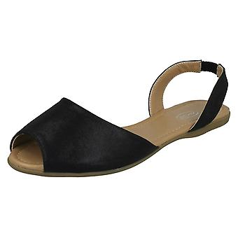 Ladies Spot On Flat Slingback Mule Sandals F00152 - Black Metallic Foil - UK Size 7 - EU Size 40 - US Size 9
