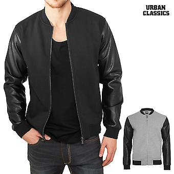 Urban classics men's zipped leather imitation sleeve jacket