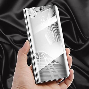 Clear View Spiegel Mirror Smartcover Silber für Huawei P20 Schutzhülle Cover Etui Tasche Hülle Neu Case Wake UP Funktion