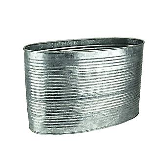 8 Zoll groß Oval verzinkt Zink Finish Metall Pflanzer