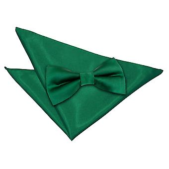 Emerald Green Plain Satin Bow Tie & Pocket Square Set
