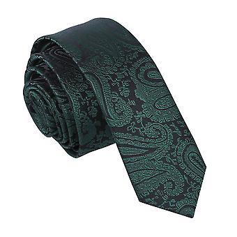 Smaragd Grün Paisley schmaler Krawatte