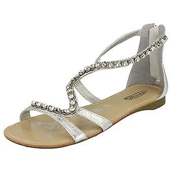 Ladies Spot il sandalo con Zip posteriore e cinturino serpente gioiello
