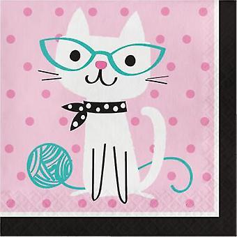 القطط المناديل 33 × 33 سم 16 عدد الأطفال عيد ميلاد موضوع الطرف الطرف عيد ميلاد