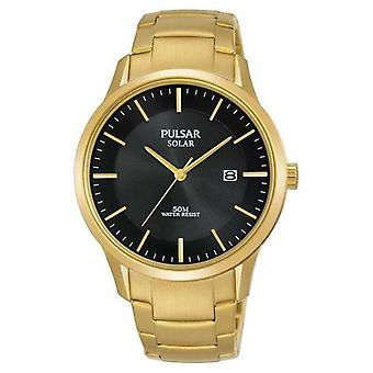 Pulsar Mens Gold Plated Solar Date Dial PX3162X1 Watch