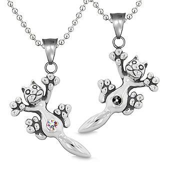Amulette Cute Kitty Katze Liebespaare oder beste Freunde Set schwarz Regenbogen funkelnde Kristalle Halsketten