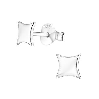 Square - 925 Sterling Silver Plain Ear Studs - W21613X