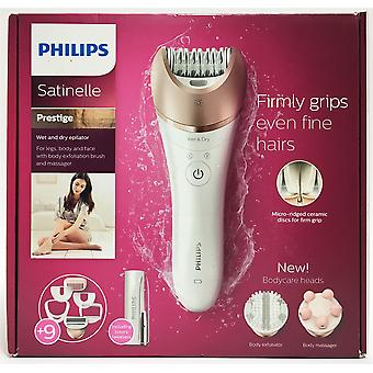 Philips Satinelle Prestige Wet & Dry Epilator Legs Body & Face 9 Attachments BRE651/00