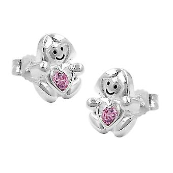 Ear studs girl with a little pink heart silver 925