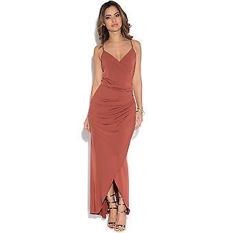 V Neck Slinky Wrap Maxi Dress