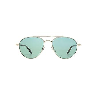 Gucci Web Logo Iconic Pilot Sunglasses In Silver Green
