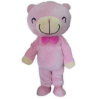 mascot SPOTSOUND of pink and beige Teddy bear