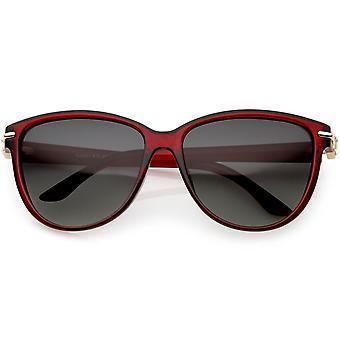Rhinestone kobiet akcentowane Oversize kot oko okulary polaryzacyjne obiektyw 58mm