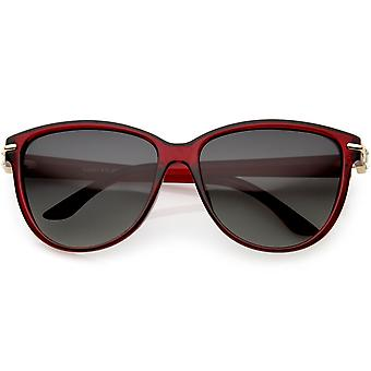 Kvinnors strass accent Oversize Cat Eye solglasögon polariserade lins 58mm
