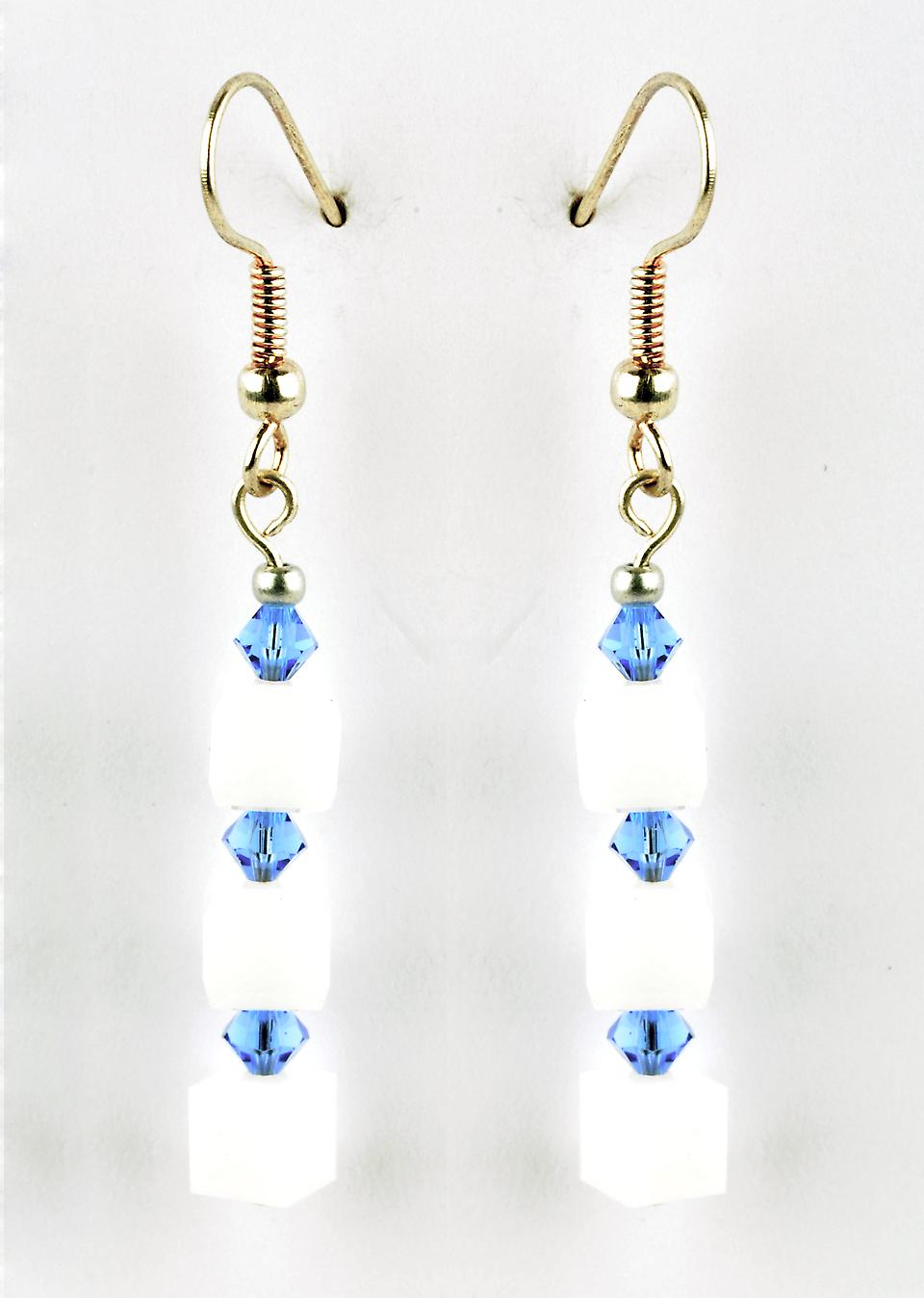 Waooh - Fashion Jewellery - WJ0774 - D'Oreille earrings with Swarovski Strass Blue & White Pearls - Frame Colour Silver