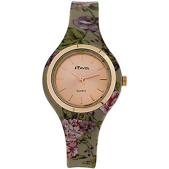 Ravel Ladies Girls Rose Goldtone Dial Floral Grey Silicone Strap Watch R1801.23F