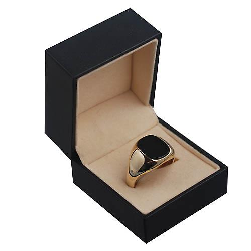 9ct Gold 14x12mm gents Onyx set oval Signet Ring Size X