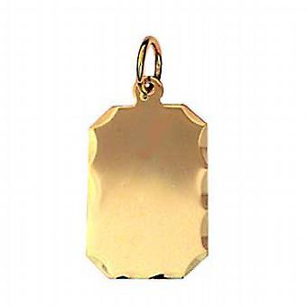 9ct золота 18x12mm алмазной резки край прямоугольного диска