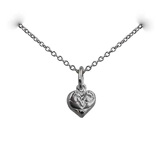 Silver 7x7mm heart symbol of charity Pendant with a rolo Chain 14 inches Only Suitable for Children