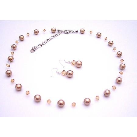 Bronze Lite Colorado Swarovski Crystals Pearls Bridesmaid Jewelry Set