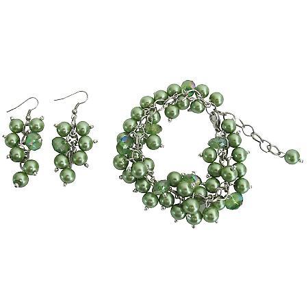 Kelly Green Cluster Twisted Bracelet Earrings Prom Flower Girl Jewelry