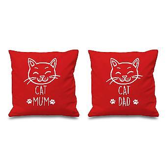 القط القط أمي أبي وسادة حمراء يغطي 16