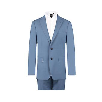 ・ ドベル メンズ光青の 2 ピースのスーツ レギュラー フィット ノッチ襟
