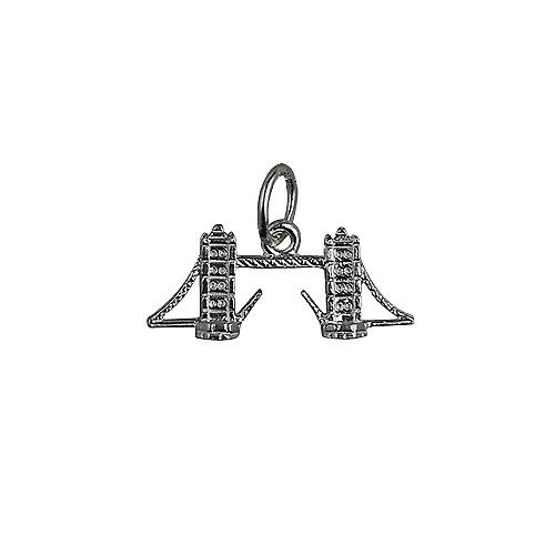 Silver 9x20mm Tower Bridge Pendant or Charm