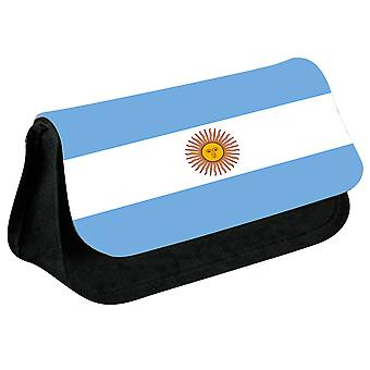 Argentina Flag Printed Design Pencil Case for Stationary/Cosmetic - 0007 (Black) by i-Tronixs