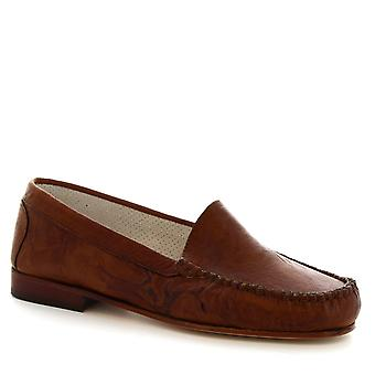 Leonardo Shoes Women's handmade slip-on loafers shoes in tan calf leather