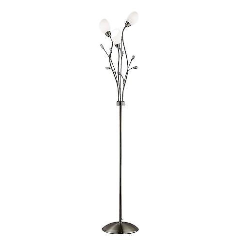 Searchlight 4763AB Gardenia 3 Light Antique Brass Floor Lamp Crystal Detail