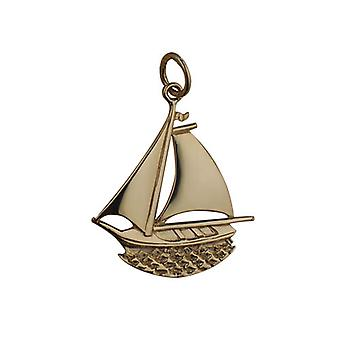 9ct Gold 25x24mm Ship in Circle Pendant or Charm