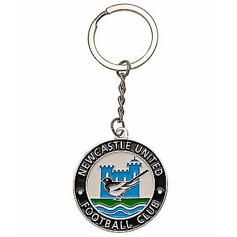 Newcastle United F.C. Retro Wappen Runde Metall / Emaille Schlüsselanhänger (bst)