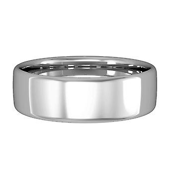 Jewelco London 18ct White Gold - 6mm Essential Bombe Court-Shaped Band Commitment / Wedding Ring