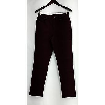 Denim & Co Jeans 5 Pocket Straight Leg gekleurde denim Bordeaux rood A282557