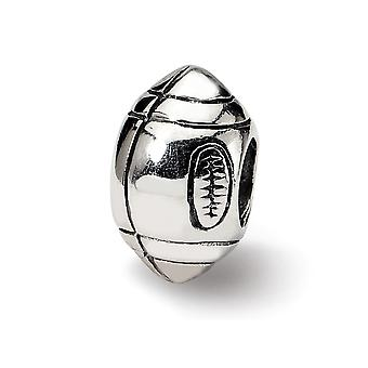 925 Sterling Argent Poli Antique finition Reflections Football Bead Charm