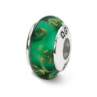 925 Sterling Argent Poli Antique finition Reflections Green Hand-blown Glass Bead Charm