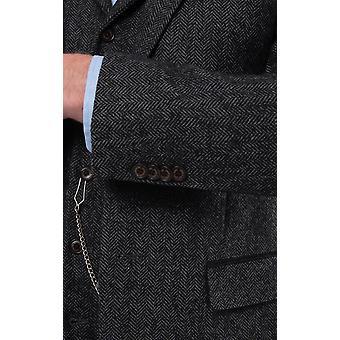 Loch Hart Herren grau Fischgrät Tweed 3 Stück Anzug samt Trim