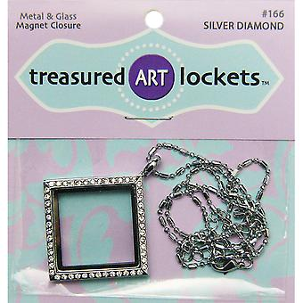 Jewelry Locket 1/Pkg-Silver Diamond QLOCKET-166