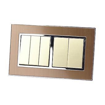 أنا لموس كترف الذهب الساتان إطار مزدوج معدني 5 عصابة 2 طريقة الروك مفاتيح الإضاءة