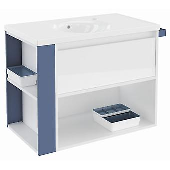 Bath+ 1 Drawer Cabinet + Shelf With Gloss White Porcelain Basin-Blue 80
