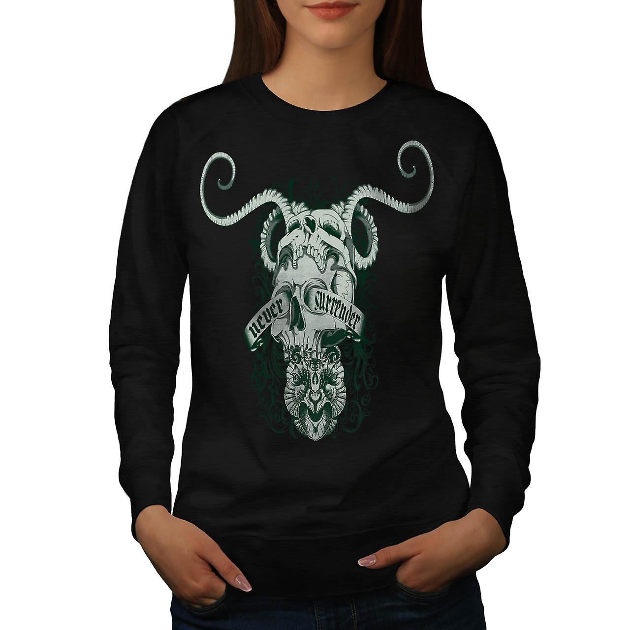 Never Surrender Skull Goat Head Women Black Sweatshirt | Wellcoda