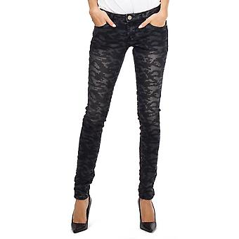 Black Camo Military Camouflage Slim Fitted Stretch Jeans