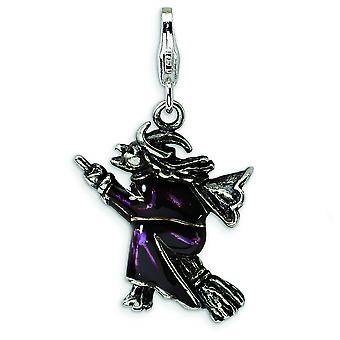 Sterling Silver 3-D Antiqued Enameled Flying Witch With Lobster Clasp Charm - Measures 32x18mm