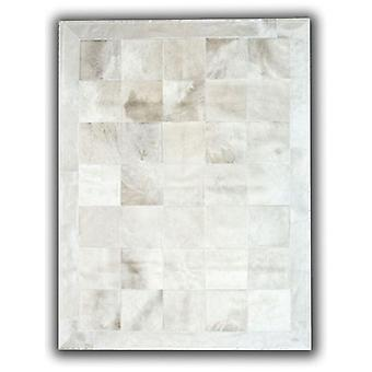 Rugs - Patchwork Leather Cubed Cowhide - White with border