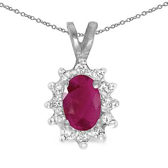 14k White Gold Oval Ruby And Diamond Pendant with 18