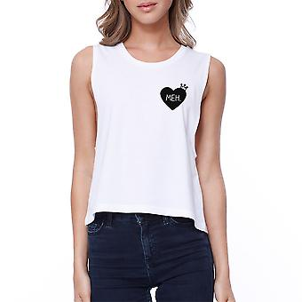 Meh Heart Pocket Print Crop Tee Cute White Sleeveless Tank Top