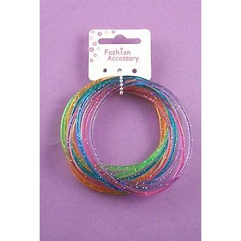 Glitter Gummy Bangles - Value pack of 12 bangles