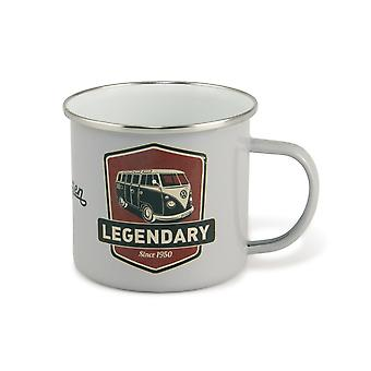 Official VW Camper Van Enamel Tin Mug in gift box - Legendary (Grey)